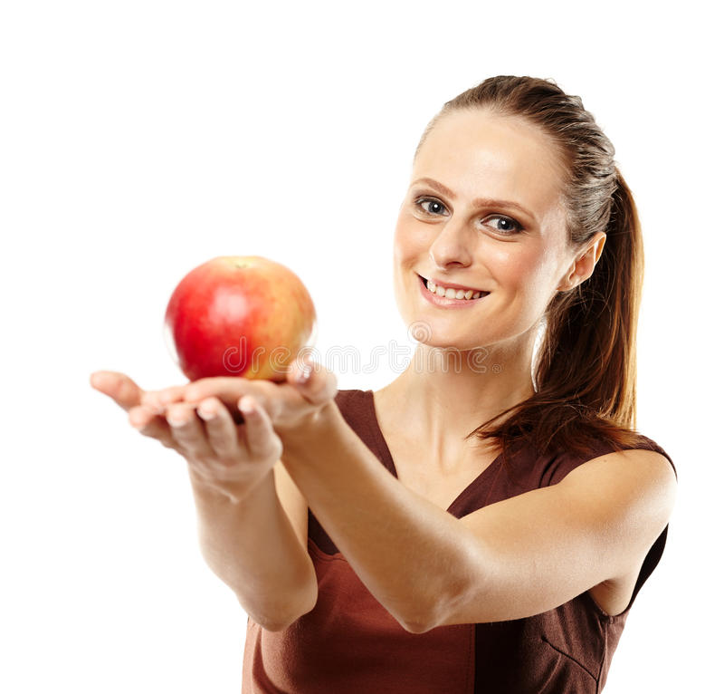Young Caucasian Woman With Red Apple Stock Photo