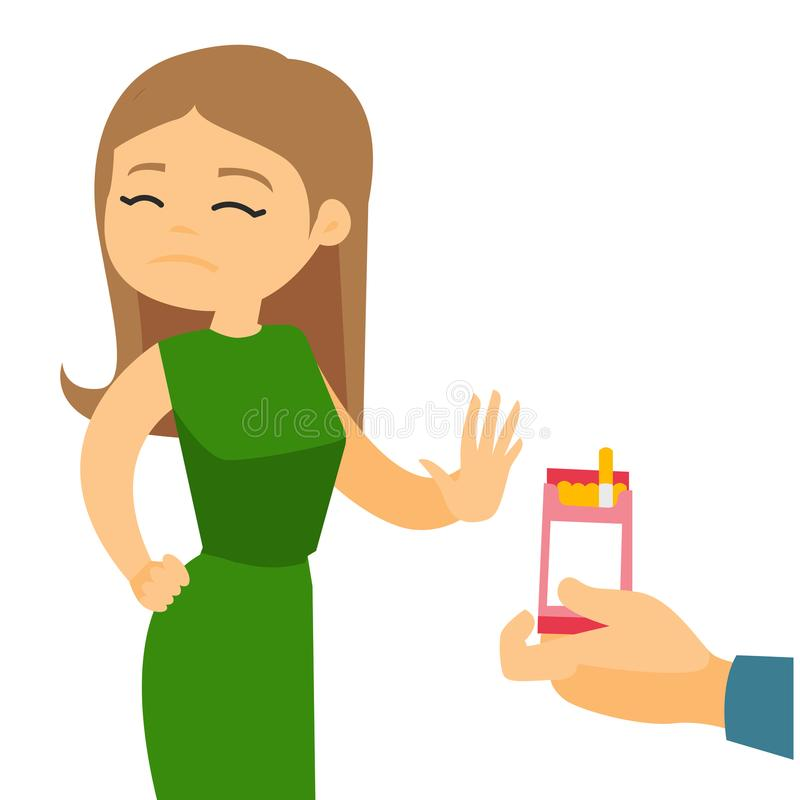 Young caucasian woman refusing to take a cigarette vector illustration