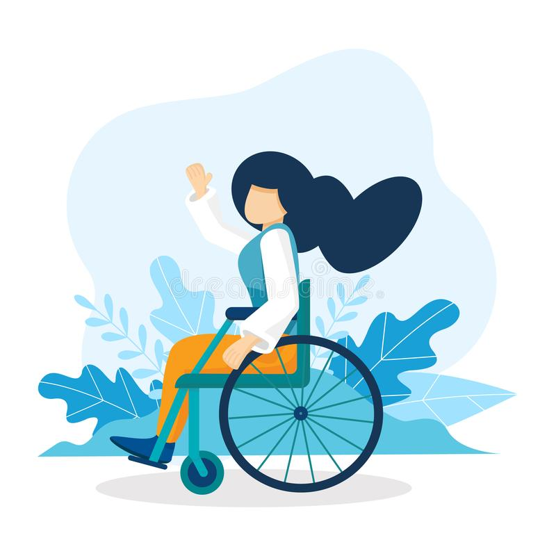 Young caucasian woman sitting in wheelchair. Happy girl with long hair living with disability. Equal opportunities royalty free illustration