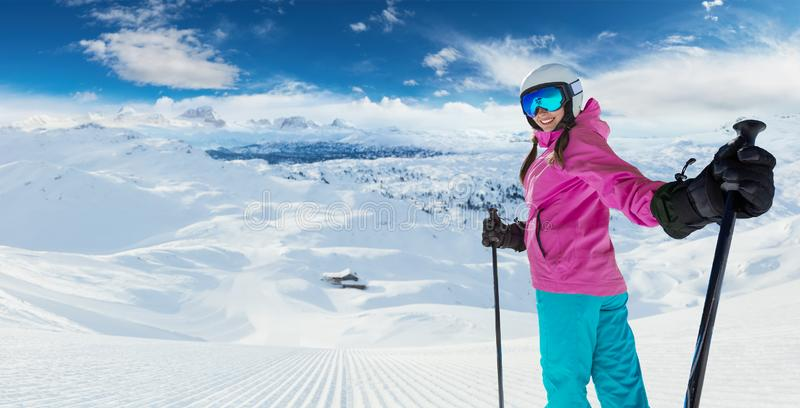 Young caucasian woman skier in European Alps stock photography