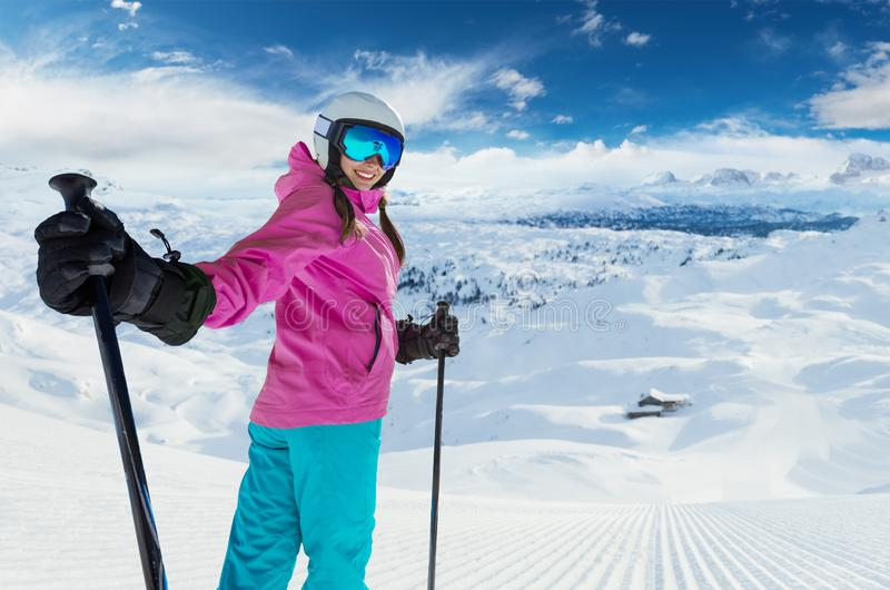Young caucasian woman skier in European Alps stock image