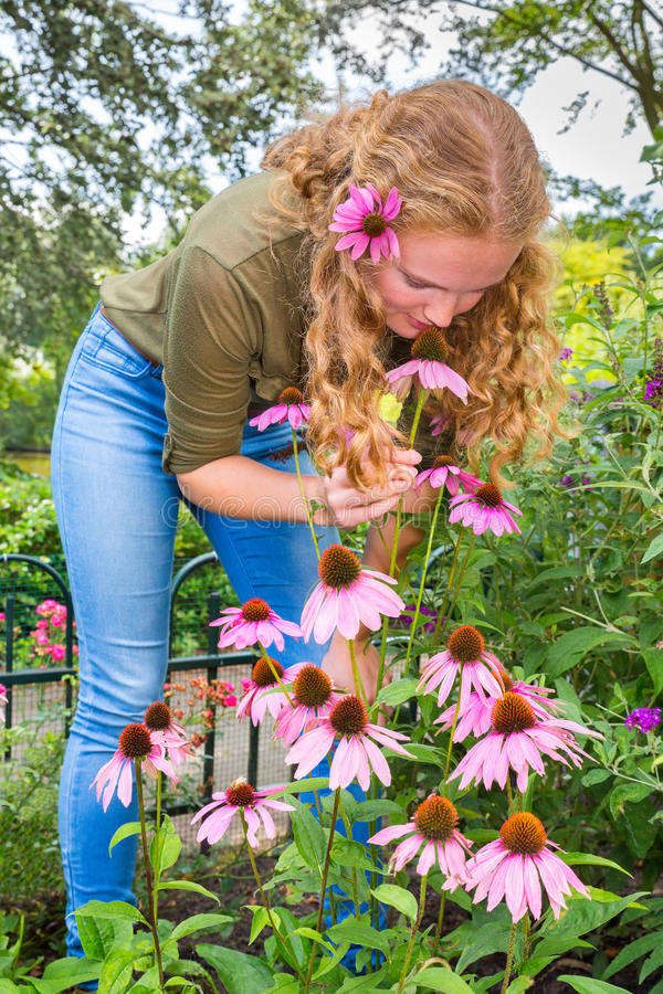 Young caucasian woman smelling echinacea flower in garden royalty free stock photo