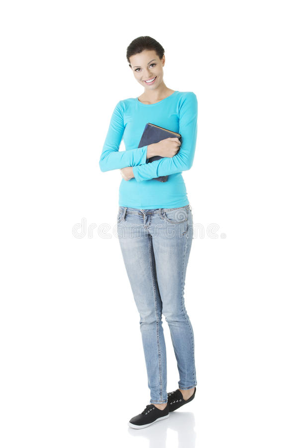 Young caucasian woman (student) with book royalty free stock images