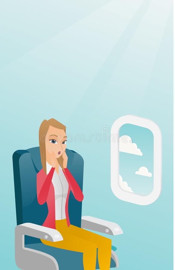 Young caucasian woman suffering from aerophobia. Young caucasian woman shocked by plane flight in the turbulent area. Frightened airplane passenger sitting in royalty free illustration