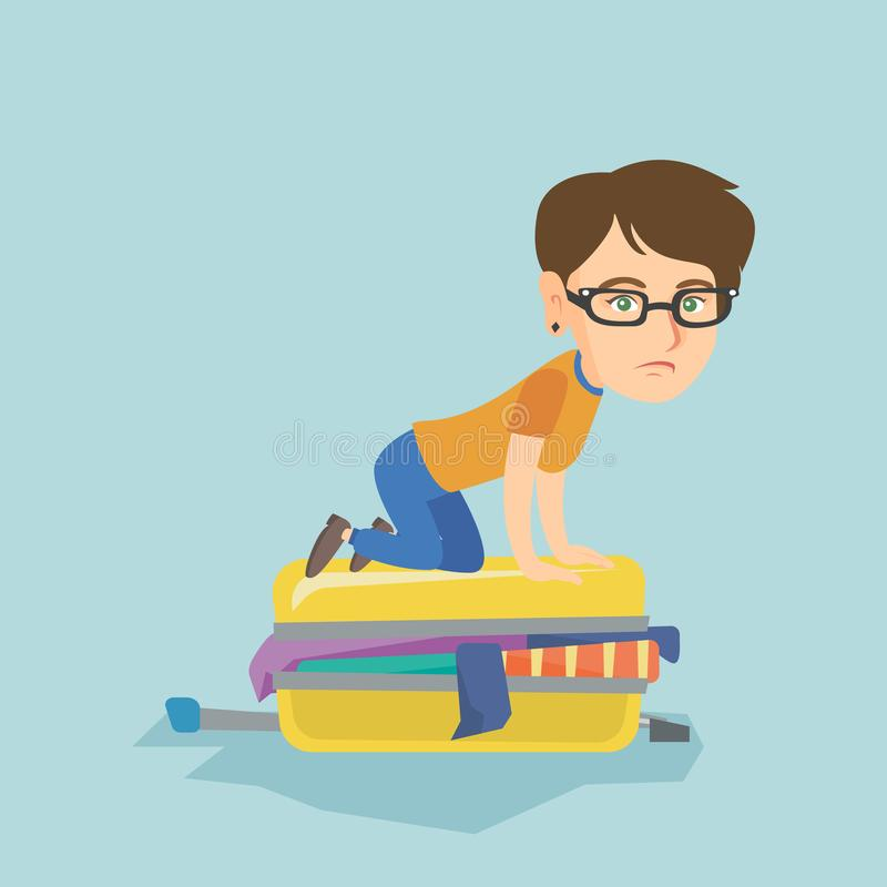 Young caucasian woman trying to close suitcase. Young caucasian woman sitting on a suitcase and trying to close it. Frustrated woman having problems with vector illustration
