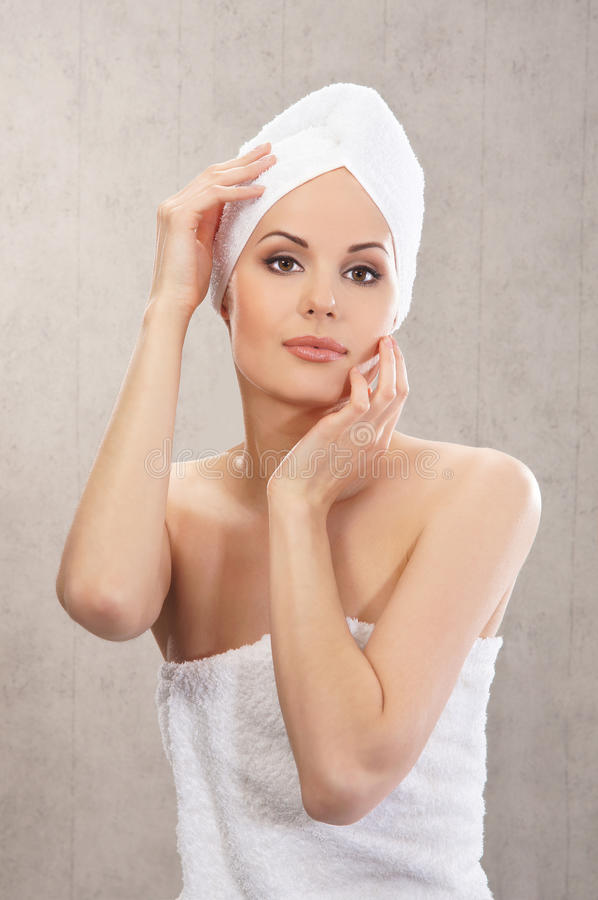 Download A Young Caucasian Woman In A White Cotton Towel Royalty Free Stock Image - Image: 25998776