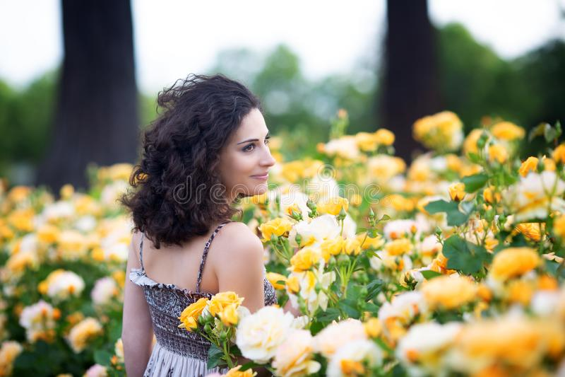 Young Caucasian women with dark curly hair in q rose garden. Waist up portrait from the back stock image