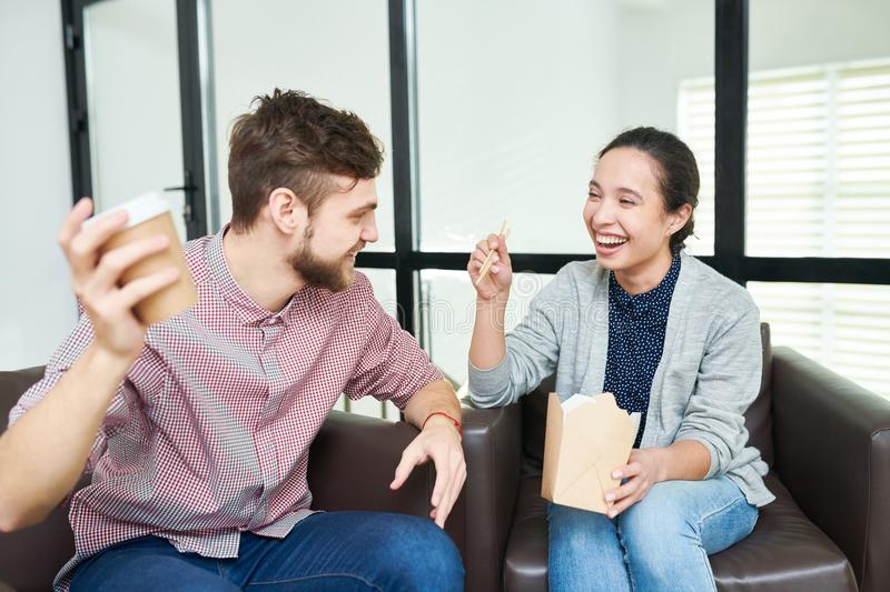 Office workers having fun on break stock photo