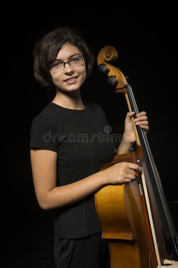 Young Cellist Rests Royalty Free Stock Photos