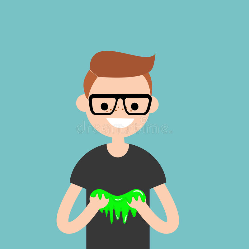 Young character playing with a slime / flat editable vector. Illustration, clip art vector illustration