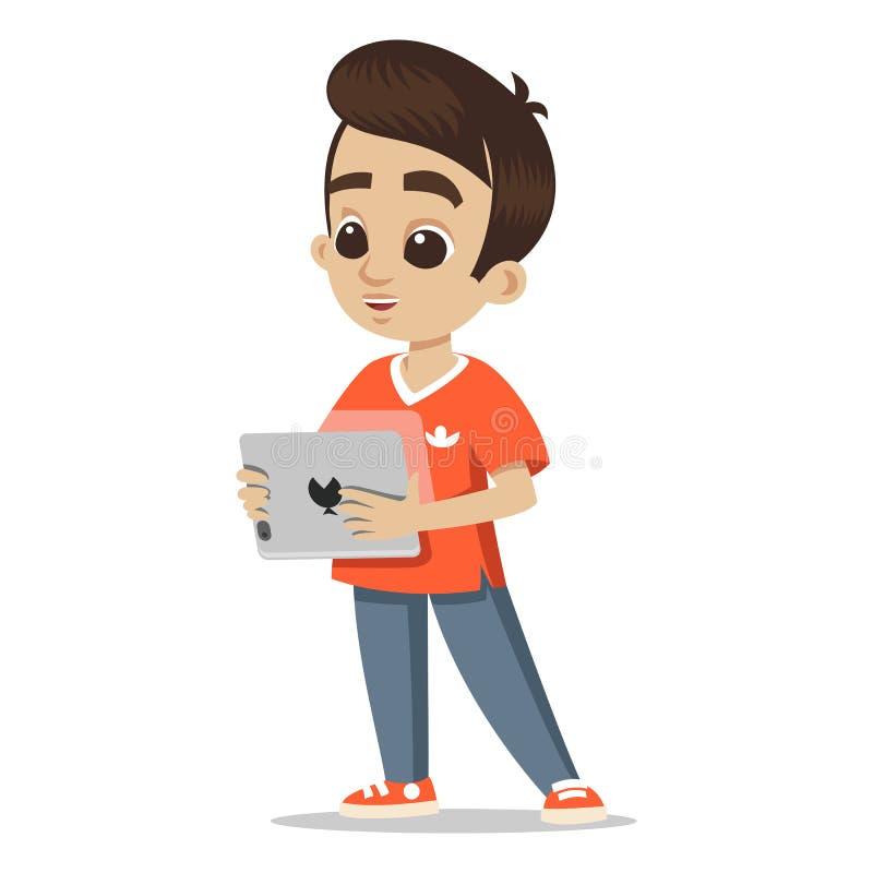 Young character portrait. Happy boy cartoon with tablet. Cute schoolboy. Little kid. Cute little boy head character. Young character portrait. Happy boy cartoon stock illustration