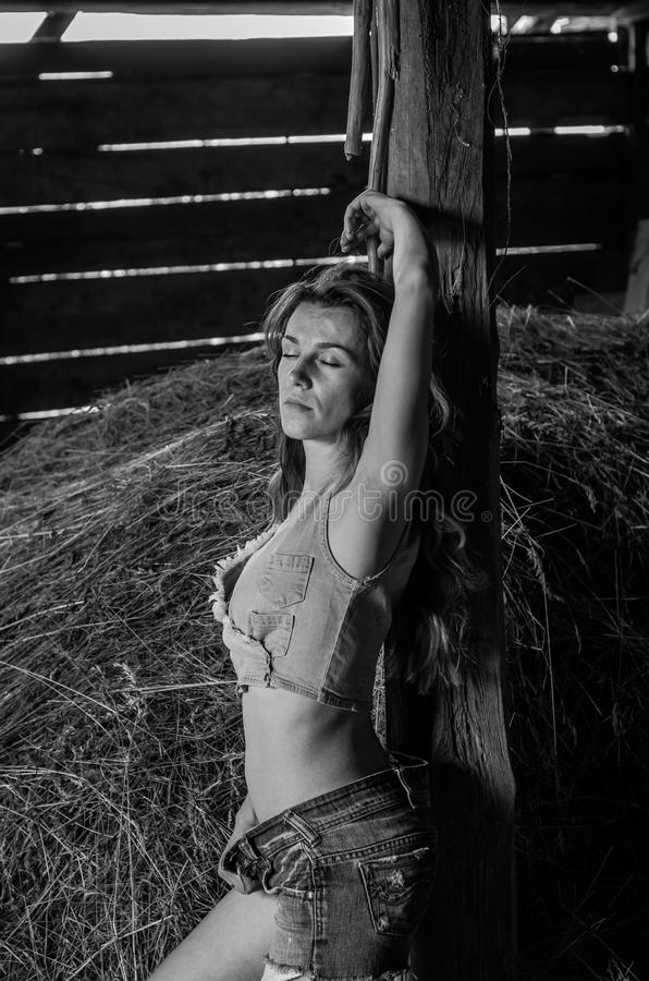 Young charming blonde girl with long hair in a barn on a farm near a haystack in the countryside with alluring eyes is wearing a royalty free stock photo