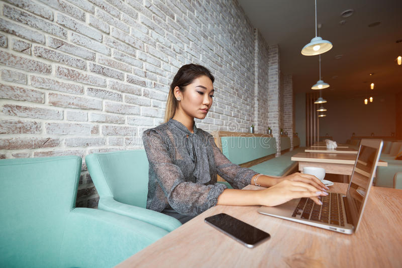 Young charming female freelancer thinking about new ideas during work on laptop computer royalty free stock photos