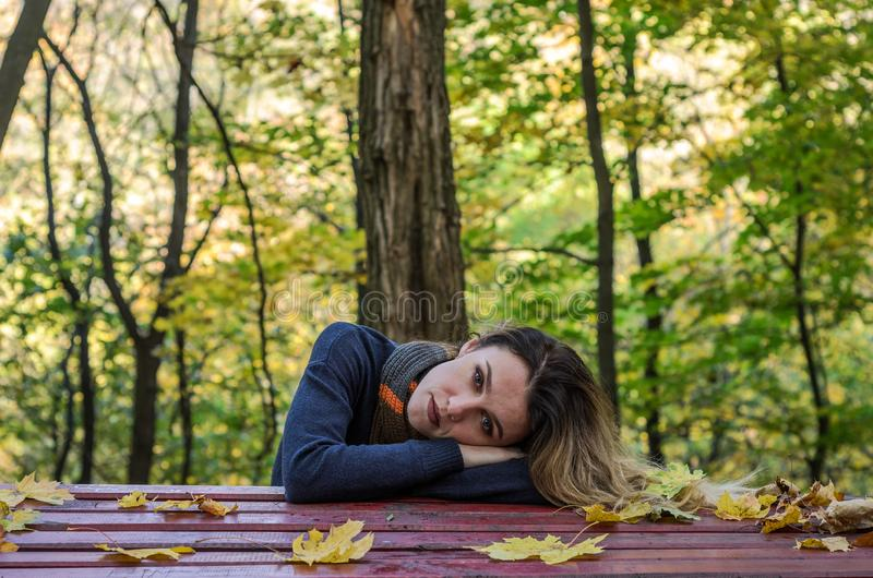 Young charming girl with long hair is lying on the table among the fallen yellow leaves in the autumn park stock photo