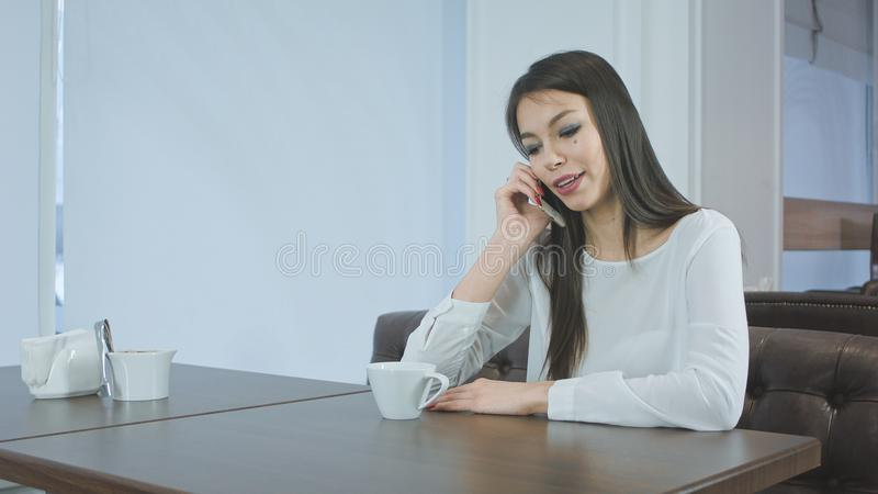 Young charming woman having phone conversation while resting in cafe stock image