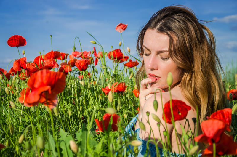 A young cheerful beautiful girl walks in a poppy meadow among red blooming poppies on a bright, hot, sunny summer day royalty free stock image