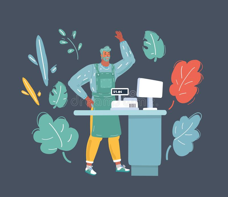 Young cheerful cashier making payment. Cartoon vector illustration of smiling cashier standing at the checkout. Young cheerful cashier making payment. Human royalty free illustration