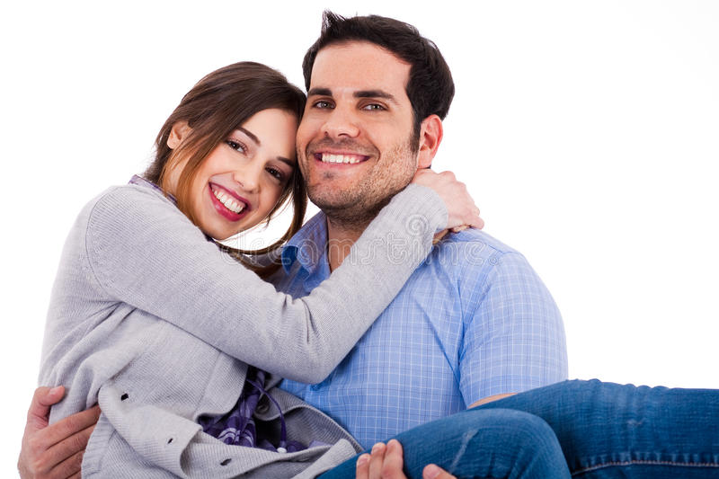 Young cheerful couples. Closeup shot indoor studio royalty free stock photo