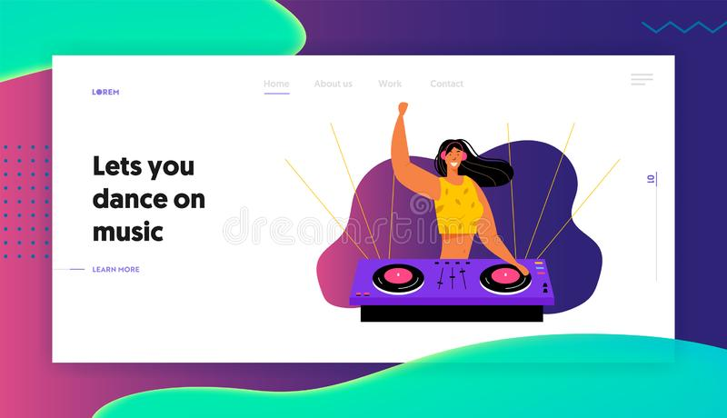 Young Cheerful Girl Dj Remiering Music su Midi Controller al Night Disco Club Party Stile di vita della musica, intrattenimento illustrazione di stock