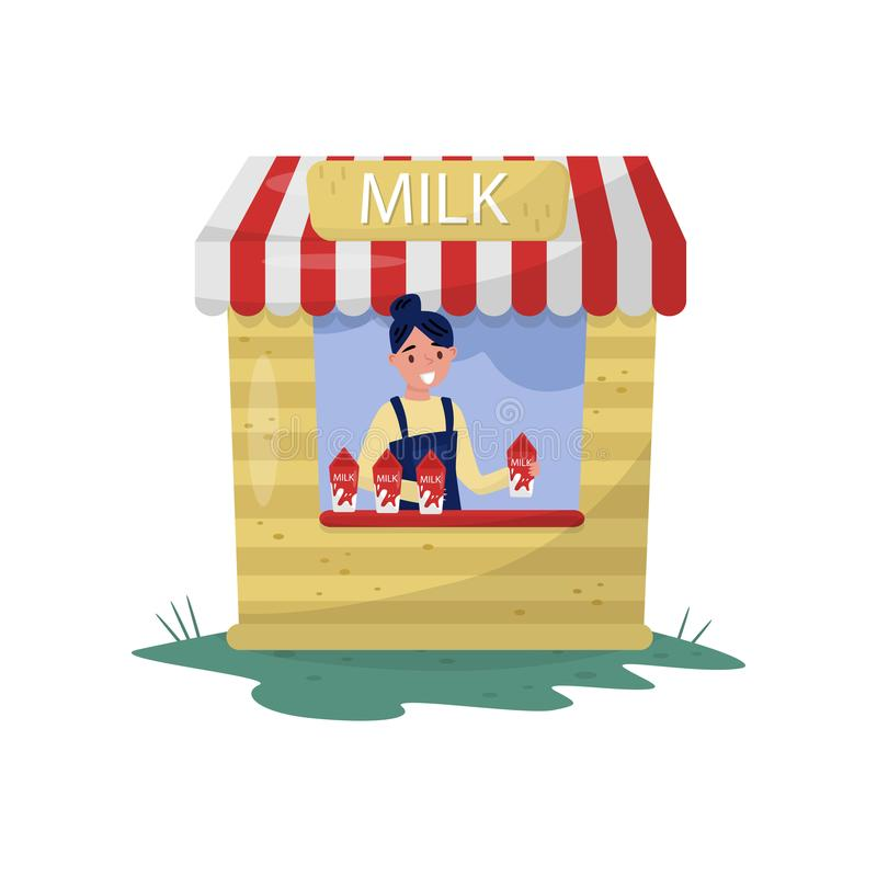 Young cheerful girl selling milk in small stall with sign. Organic and healthy beverage. Farm dairy product. Flat vector vector illustration