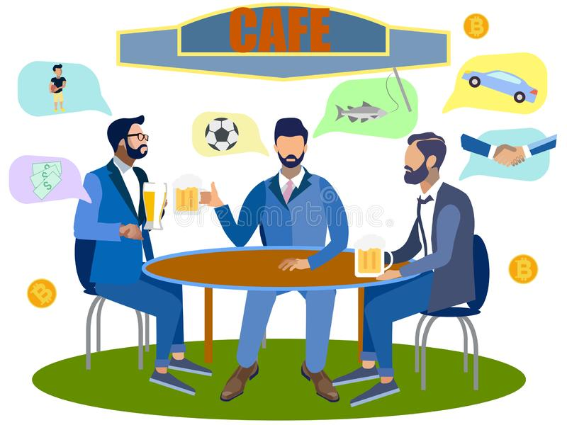 Young cheerful multiethnic people drinking beer and watching football match in the bar. Happy friends with beer in sport. Bar. In minimalist style. Flat royalty free illustration