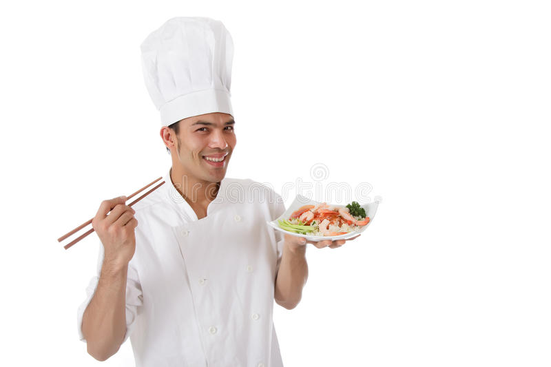 Young cheerful nepalese chef male, royalty free stock image
