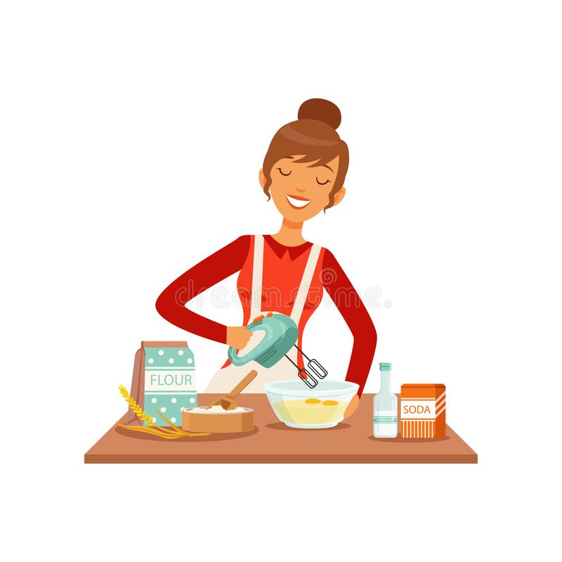Young cheerful woman mixing dough with mixer, housewife girl cooking food in the kitchen flat vector Illustration vector illustration