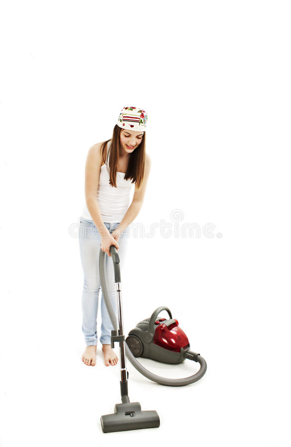 Young Cheerful Woman With Vacuum Cleaner Stock Images