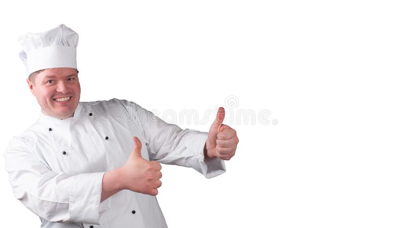 Chef holds his thumb up royalty free stock images