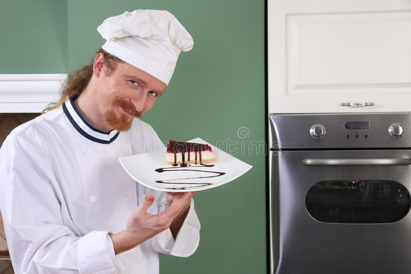 Download Young Chef With Piece Of Cake Stock Image - Image of preparation, culinary: 23397883
