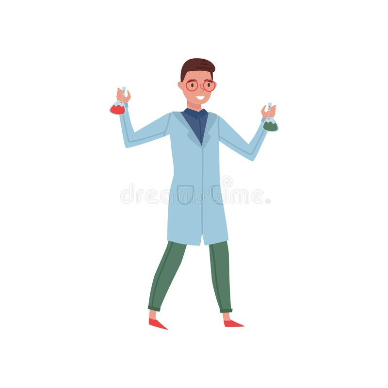 Young chemist holding flasks with liquids. Worker of chemical laboratory. Flat vector design stock illustration
