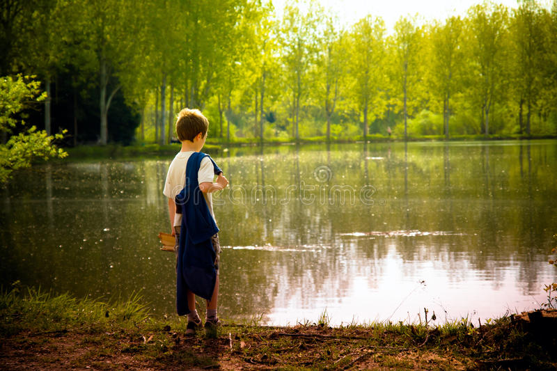 Young child in nature royalty free stock photography