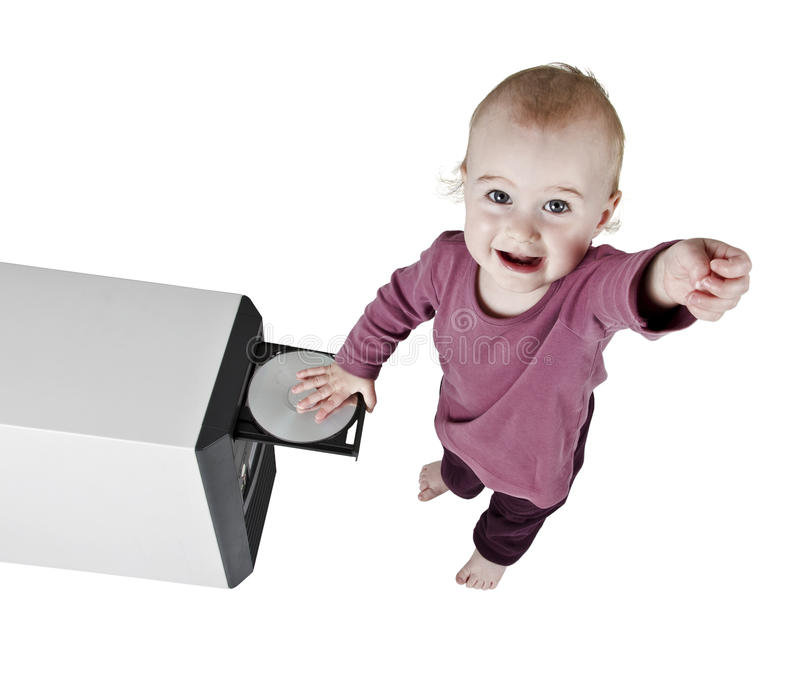 Download Young Child Playing With CD Royalty Free Stock Photography - Image: 25217327