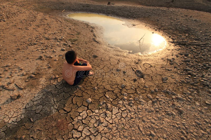 Young child and Water Crisis stock image