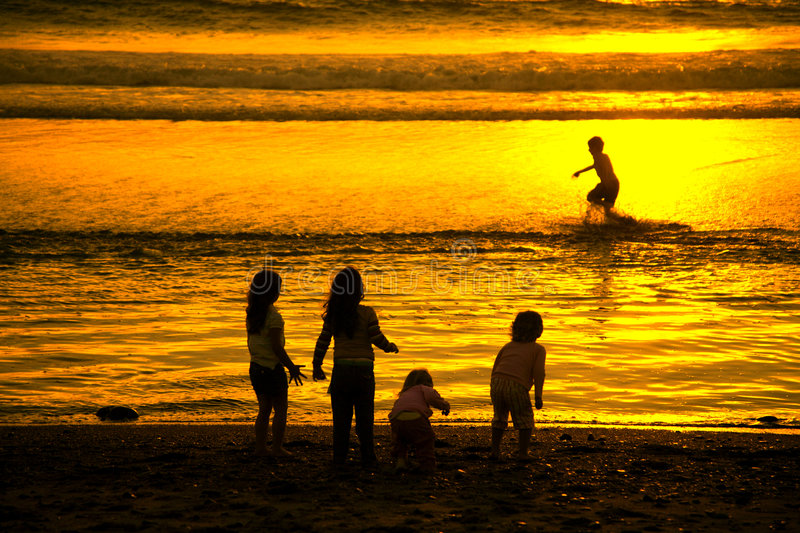 Young Children at Beach