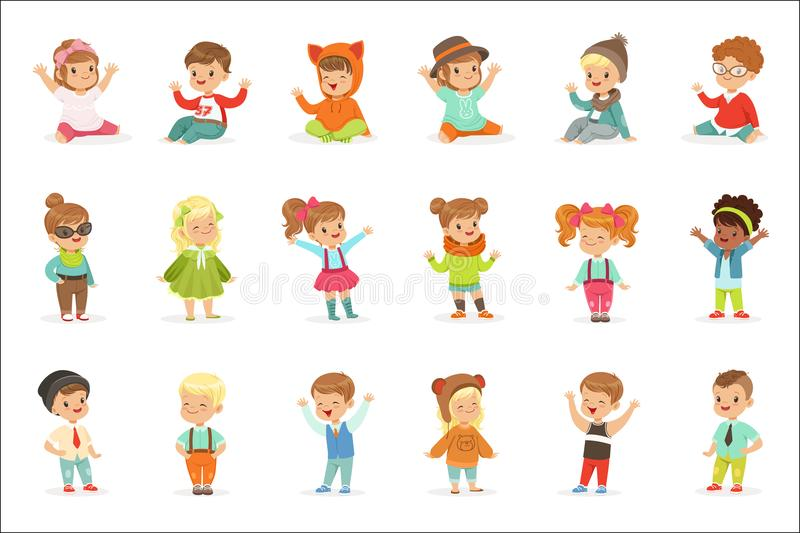 Young Children Dressed In Cute Kids Fashion Clothes, Series Of Illustrations With Kids And Style royalty free illustration
