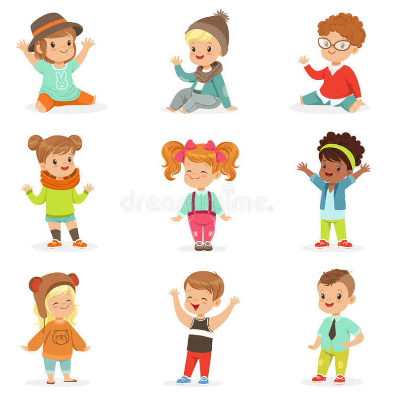 Young Children Dressed In Cute Kids Fashion Clothes, Set Of Illustrations With Kids And Style stock illustration