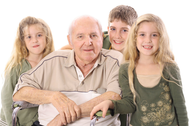 Young children with eldery man. Photo of young children with eldery man royalty free stock images