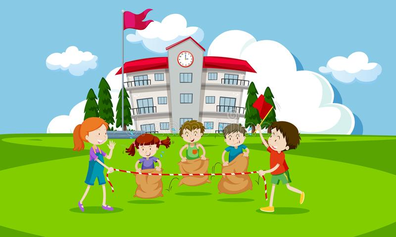 Young children having a potato sack race royalty free illustration