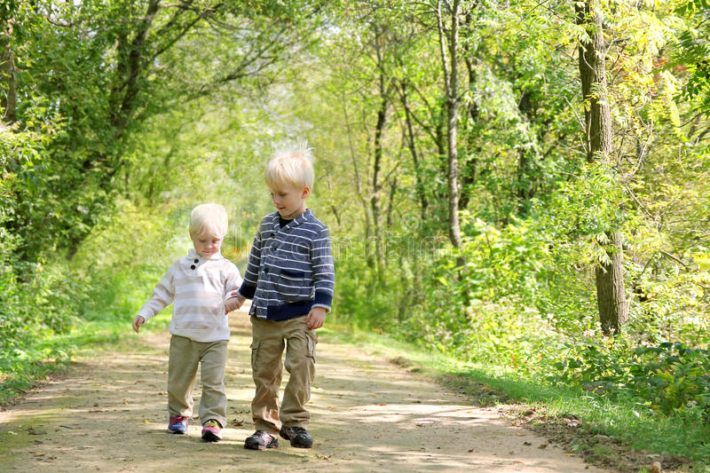 Young Children Holding Hands Taking a Walk in the Autumn Woods royalty free stock photo
