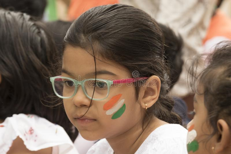 Young children mesmerized during Indian Independence Day celebration. Youth celebrating Indian Independence day royalty free stock images