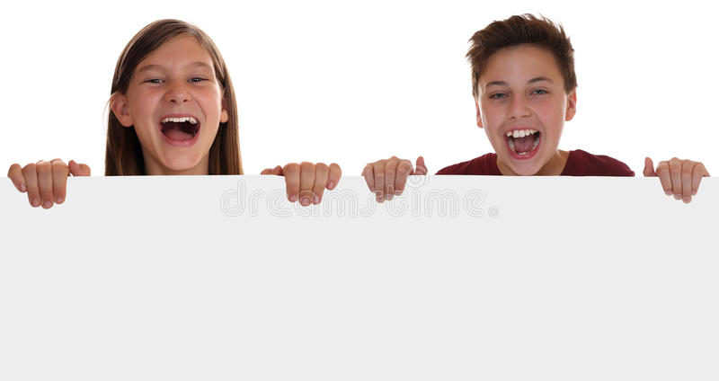 Young children or teenager having fun with an empty sign with co. Pyspace, isolated on a white background stock photos