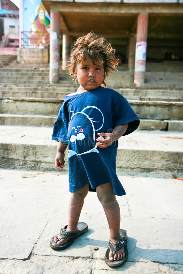 Young childrenbeggers in Varanasi royalty free stock photo