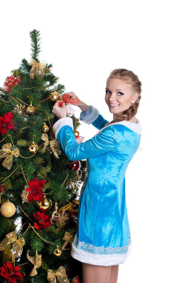 Download Young Christmas Girl Decorate New Year Fir Tree Stock Image - Image: 22457237