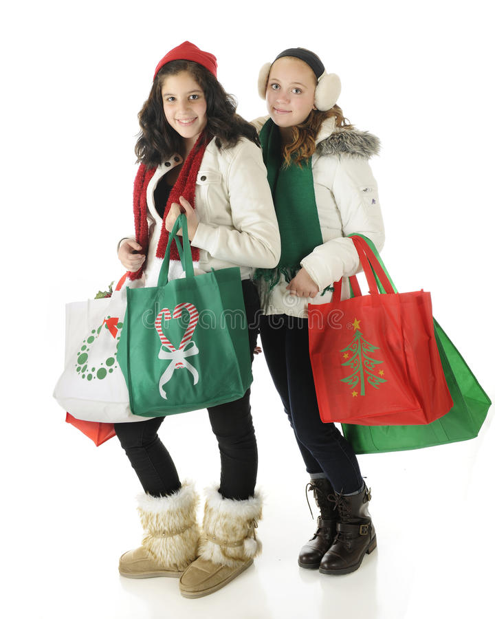 Download Young Christmas Shoppers stock image. Image of girl, bags - 27827191