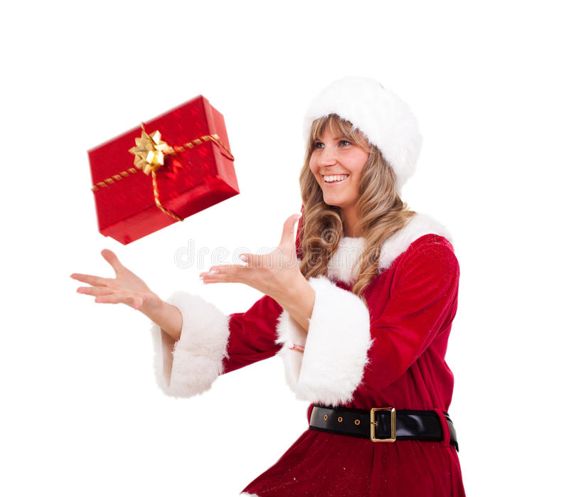 Download Young Christmas Woman Is Catching An Xmas Present Stock Image - Image: 11676175