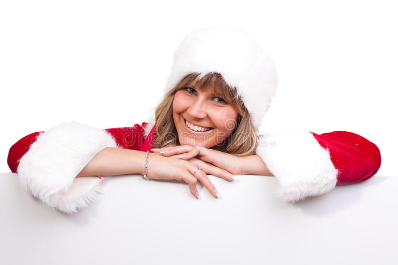 Download Young Christmas Woman On A Copyspace Label Stock Photo - Image: 11675318