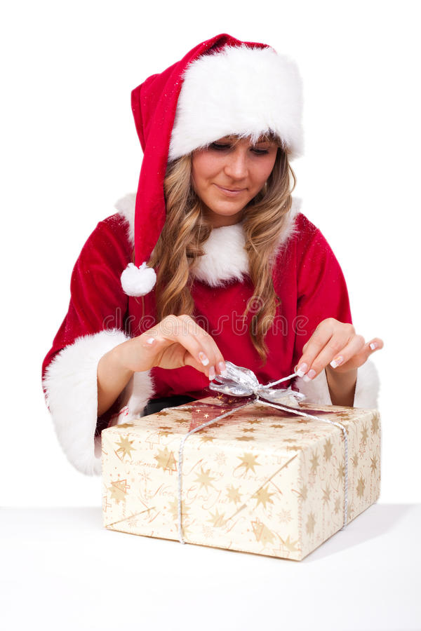 Download Young Christmas Woman Is Opening An Xmas Presents Stock Image - Image: 11675701