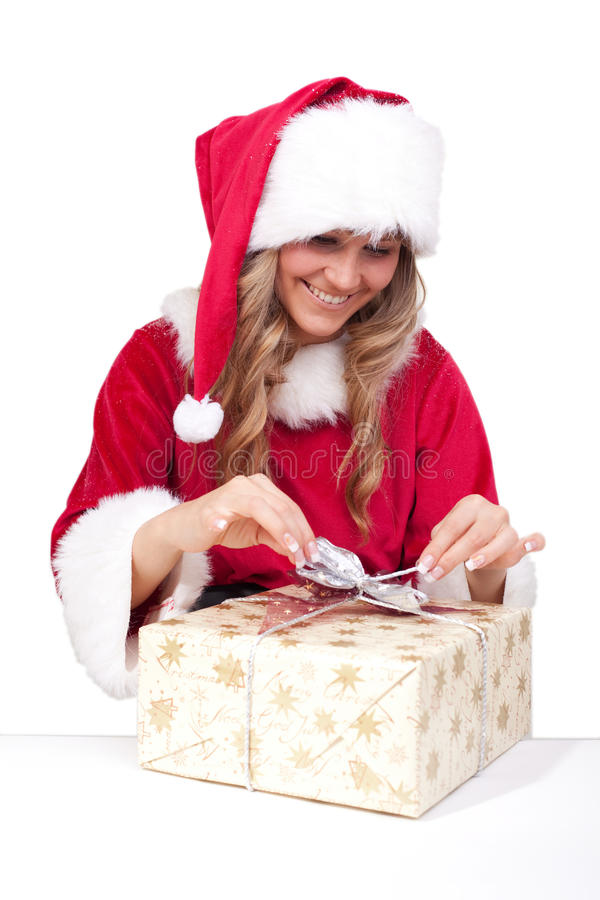Download Young Christmas Woman Is Opening An Xmas Presents Stock Image - Image of happy, december: 11675721