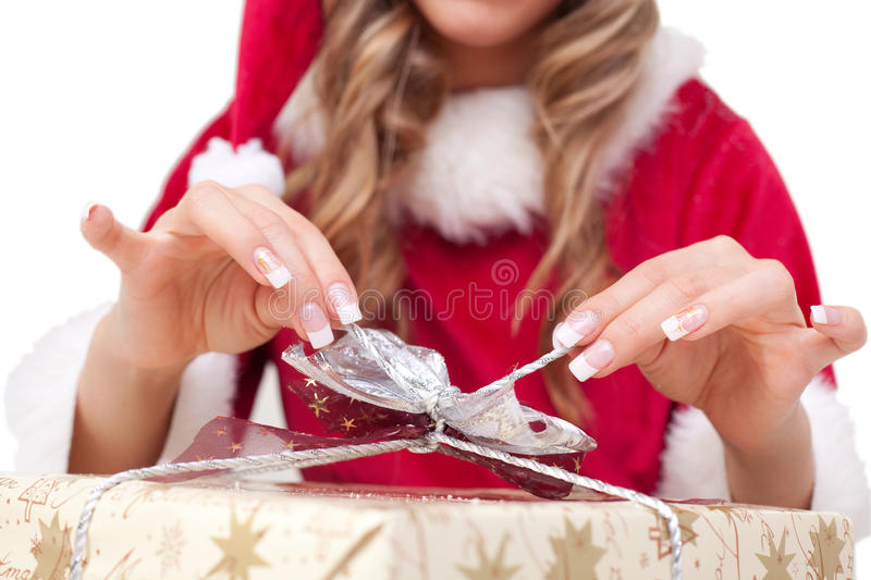 Download Young Christmas Woman Is Opening An Xmas Presents Stock Image - Image: 11675745